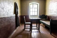Single cell in the Old prison at the ancient Oreshek fortress stock photos