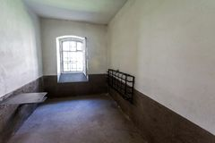 Single cell in the Old prison at the ancient Oreshek fortress royalty free stock photos