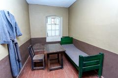Single cell in the Old prison at the ancient Oreshek fortress royalty free stock images