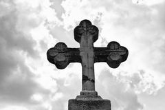 Single Cemetery Cross. Creepy Image of a Cemetery Cross in New Orleans royalty free stock photography