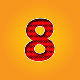 Single Character 8 Eight Font in Orange and Yellow color Alphabet Royalty Free Stock Photo