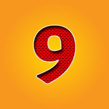 Single Character 9 Nine Font in Orange and Yellow color Alphabet Stock Photos