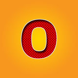 Single Character O Font in Orange and Yellow color Alphabet Stock Image