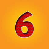 Single Character 6 Six Font in Orange and Yellow color Alphabet royalty free stock photography