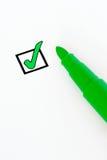 Single check-box. Check-box ticked with a green felt pen Stock Photography