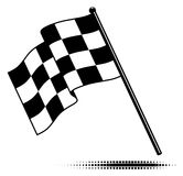 Single Checkered Flag (waving below). Checkered flag waving below the pole. Black and white design (gradient free).  Isolated and includes optional square Stock Image