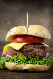 Single cheesburger. Single juicy cheeseburger on the wooden table Stock Images