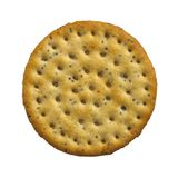 single cheese cracker on white background Royalty Free Stock Image