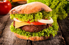 Single cheeseburger Royalty Free Stock Photos