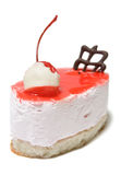 Single cheesecake with cherry. Closeup of single cherry cheesecake isolated on white background Royalty Free Stock Photo