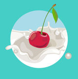 Single cherry falling in cream splash Royalty Free Stock Photo