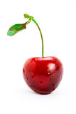 A single cherry with stem. And a leaf on white stock image
