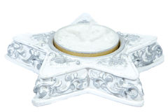 Single christmas candle being isolated on pure white Royalty Free Stock Images