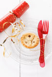 Single Christmas fruit mince pie over white background Royalty Free Stock Photos