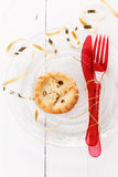 Single Christmas fruit mince pie over white background Royalty Free Stock Image
