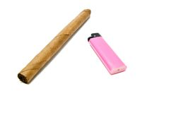 Single cigar and plastic lighter Royalty Free Stock Photography