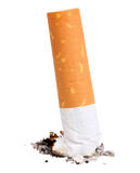 Single cigarette butt with ash Stock Photo