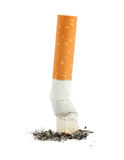 Single cigarette with ash Stock Photography
