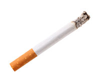 Single cigarette butt with ash Royalty Free Stock Images