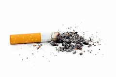 Single cigarette butt with ash Stock Image