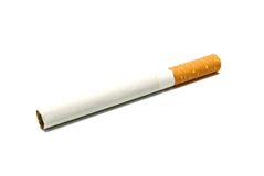 Single cigarette with filter on white Royalty Free Stock Images