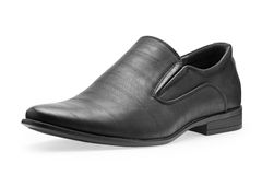 Single of classical black leather shoes for men, without shoelaces Stock Photos
