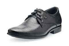 Single of classical black leather shoes for men, with shoelaces Royalty Free Stock Photos