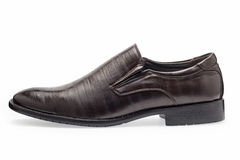 Single of classical brown leather shoes for men, without shoelaces Royalty Free Stock Photos