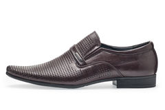 Single of classical brown leather shoes for men, without shoelaces Royalty Free Stock Photo