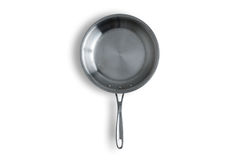 Single Clean Steel Kitchen Pan on White Background royalty free stock photo