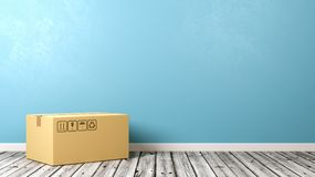 Single Closed Cardboard Box on Wooden Floor. One Single Closed Cardboard Box on Wooden Floor Against Blue Wall with Copyspace 3D Illustration Royalty Free Stock Photo