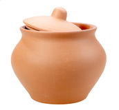 Single closed ceramic pot Royalty Free Stock Photos