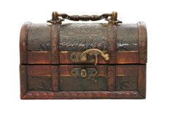 Single closed wooden chest with metal ornament Stock Photography
