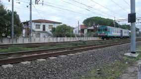 Single Coach Diesel Train is Passing at Low Speed stock video footage