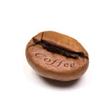 Single coffee bean isolated on white background Stock Photos