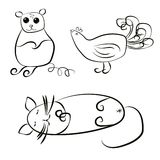 Single-color drawings for the design of a mouse, cat, bird. Royalty Free Stock Photo