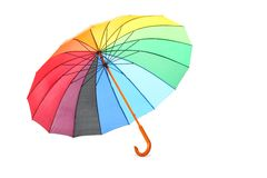Single colored umbrella is lying on a floor. Stock Images