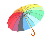 Single colored umbrella is lying on floor. Vector image. Isolated royalty free illustration