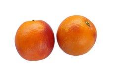 Single colorful red sicilian orange isolated on white. Single juicy colorful red sicilian orange isolated on white Royalty Free Stock Photos