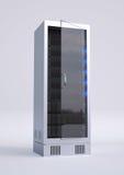 Single Computer rack. On grey ground with black servers Royalty Free Stock Photos