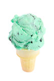 Single cone Mint Chocolate Chip Ice Cream Royalty Free Stock Images