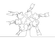 Free Single Continuous Line Drawing Of Male And Female Business Team Members Unite Puzzle Pieces Together To One As Team Building Royalty Free Stock Image - 180379856