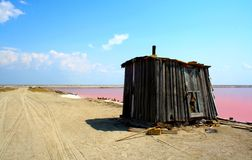 Single contrast. Pink Lake or Lake Sasyk Siwash, which is mined pink salt stock photo