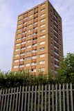 Single council tower block with Fence Stock Photo
