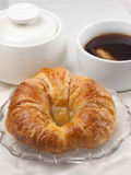 Single Croissant with beverage Royalty Free Stock Image