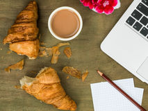 Single Croissant and a Cup of Tea Working Breakfast or Snack Royalty Free Stock Image