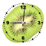 Single cross section of kiwi as a office clock Stock Photography