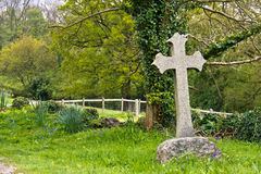 Single cross tombstone in graveyard Royalty Free Stock Images