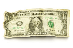 Single crumpled dollar bill Stock Photography
