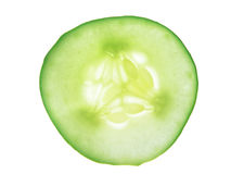 Single Cucumber slice, isolated Royalty Free Stock Images